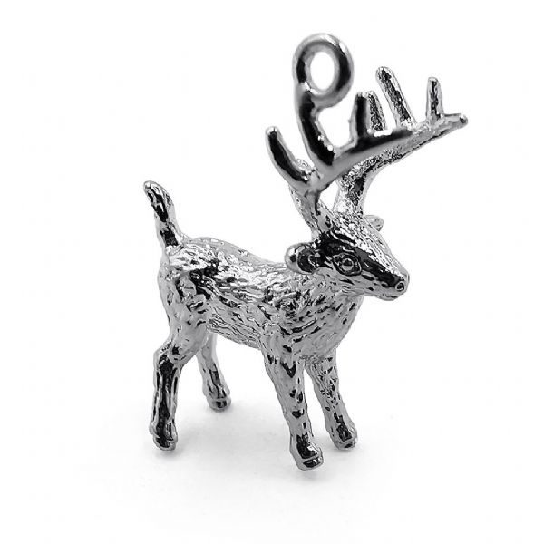 Rhodium Plated Wee Stag Charm 20x17x7mm